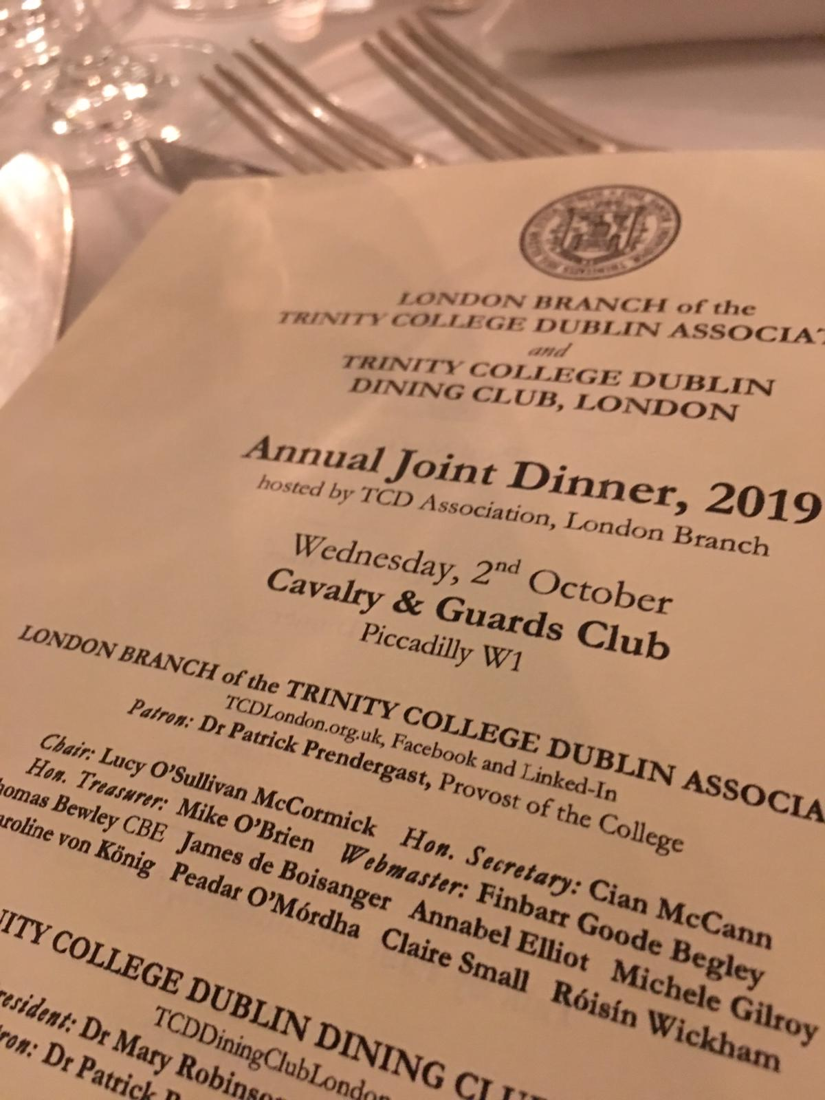 paul mcguiness former manager u2 trinity college dublin tcd association london joint dinner 2019